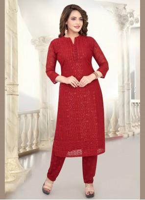 Georgette Red Embroidered Salwar Kameez