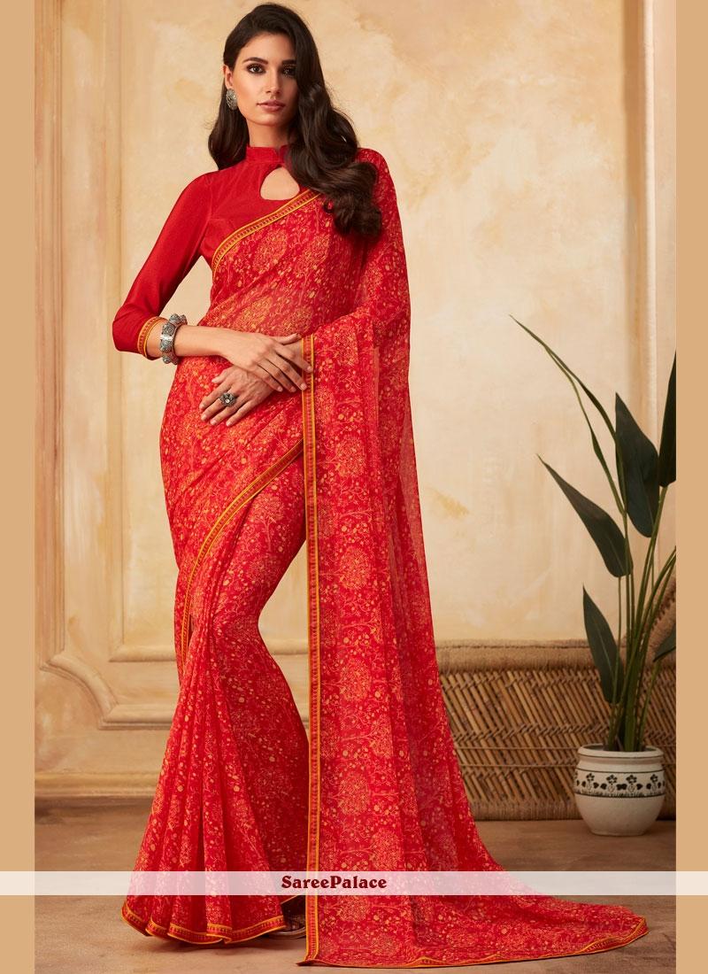 Georgette Red Fancy Designer Saree