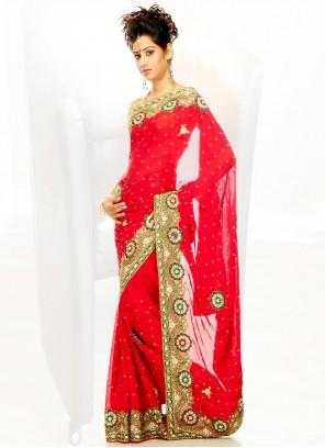 Georgette Red Handwork Designer Saree