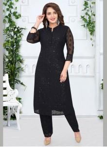 Georgette Resham Black Salwar Kameez