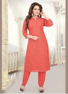 Georgette Resham Peach Salwar Suit