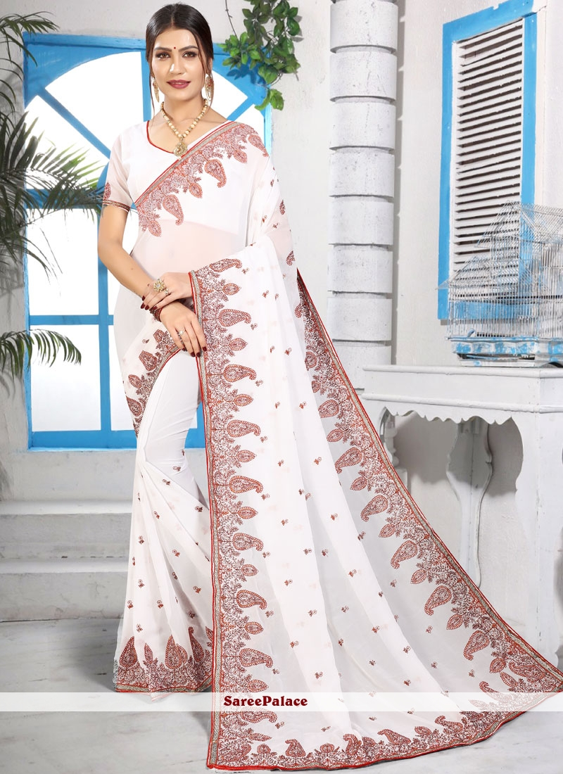 5acbeb2bfa Buy Georgette Resham White Designer Saree Online