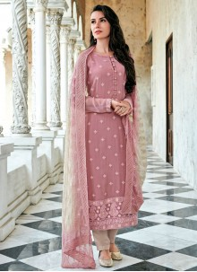 Georgette Rose Pink Embroidered Straight Salwar Suit