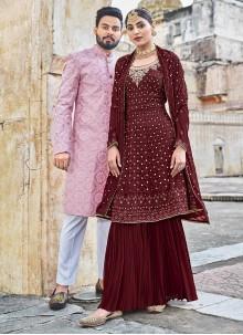 Maroon Georgette Embroidered Salwar Suit