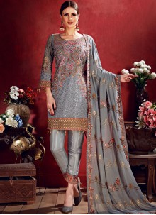 Georgette Salwar Suit in Grey