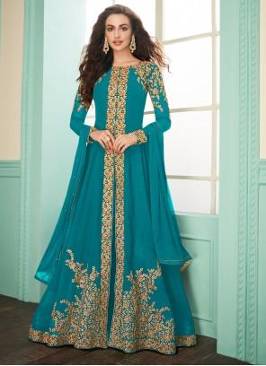 Georgette Salwar Suit in Turquoise