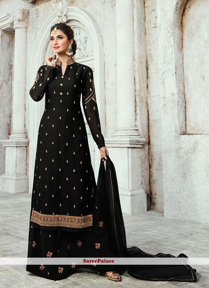Georgette Satin Designer Palazzo Salwar Kameez in Black