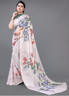 Georgette Satin Designer Saree in Multi Colour