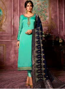 Georgette Satin Embroidered Churidar Suit