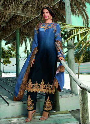 Blue Georgette Satin Embroidered Designer Pakistani Salwar Suit