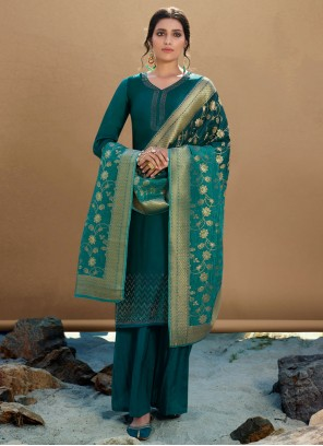 Georgette Satin Embroidered Green Designer Palazzo Suit