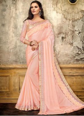 Georgette Satin Embroidered Pink Designer Saree