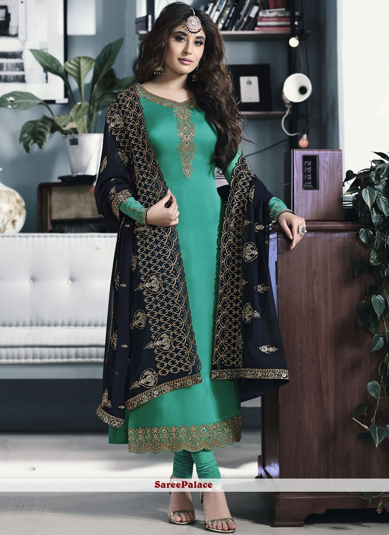 467ae258b8 Buy Georgette Satin Embroidered Sea Green Designer Straight Salwar Suit  Online