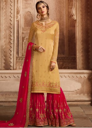 Georgette Satin Embroidered Yellow Designer Pakistani Suit