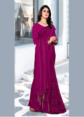 Purple Georgette Satin Festival Bollywood Saree