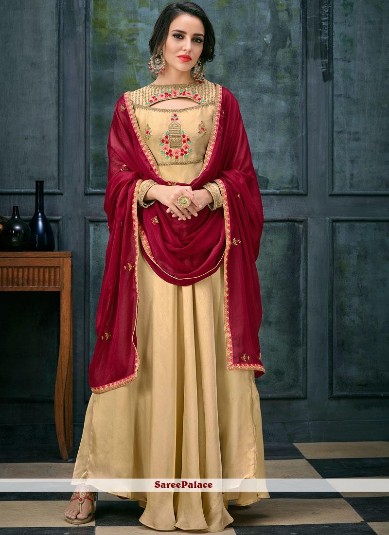 6627c1bb02 Buy Beige Georgette Satin Floor Length Anarkali Suit Online