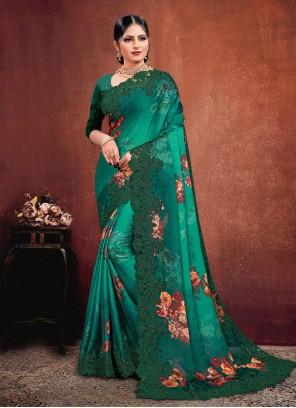 Georgette Satin Green Classic Designer Saree