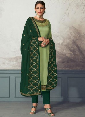 Georgette Satin Green Embroidered Pant Style Suit