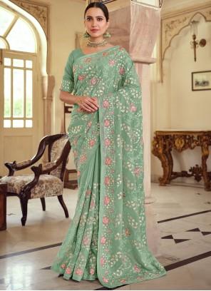 Georgette Satin Green Embroidered Trendy Saree