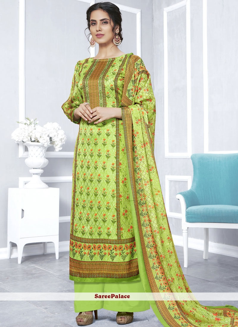 91f95b4fed Buy Georgette Satin Green Printed Designer Palazzo Suit Online
