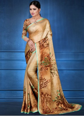 Georgette Satin Multi Colour Digital Print Printed Saree