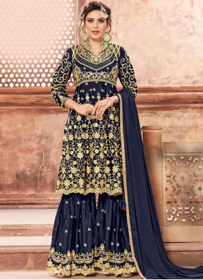 Georgette Satin Navy Blue Zari Designer Pakistani Suit