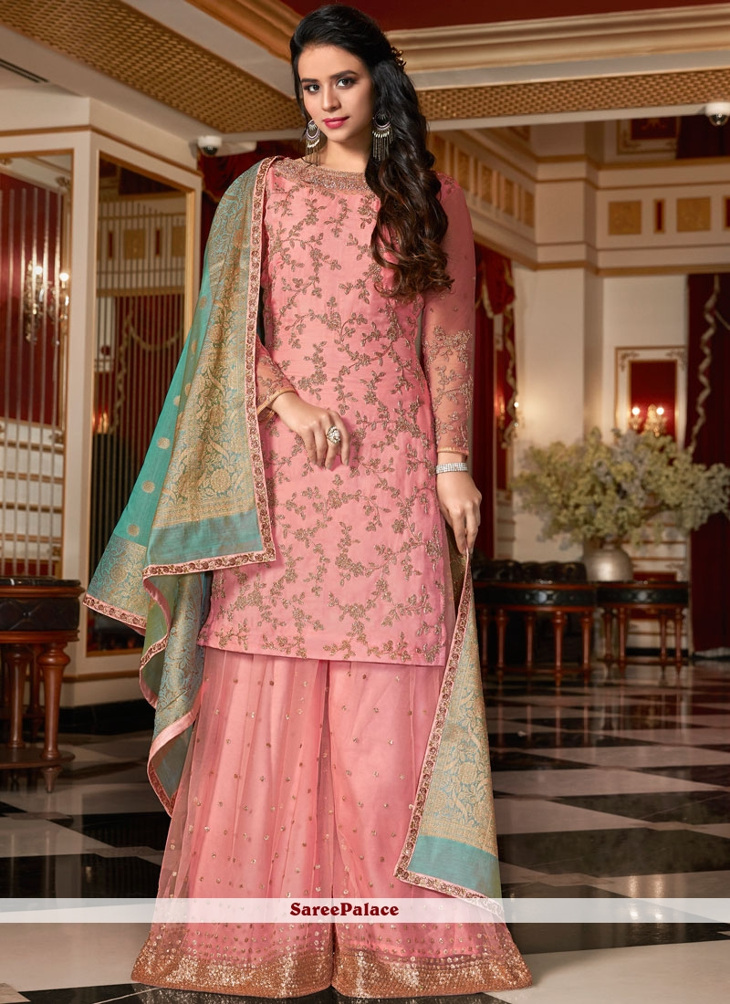 c019a844e5 Buy Georgette Satin Pink Embroidered Designer Pakistani Suit Online