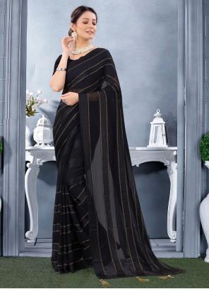 Georgette Satin Trendy Saree in Black
