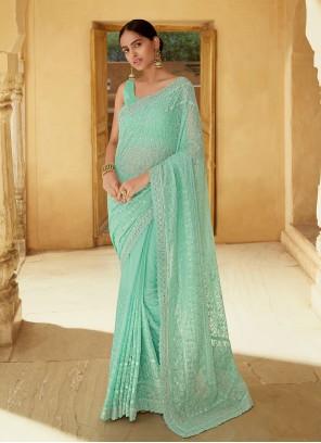 Georgette Sea Green Classic Designer Saree