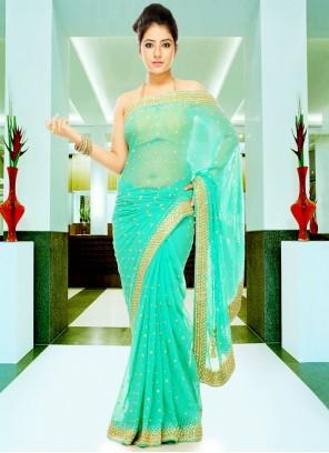 Georgette Sea Green Designer Saree