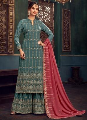 Georgette Sea Green Embroidered Designer Pakistani Salwar Suit