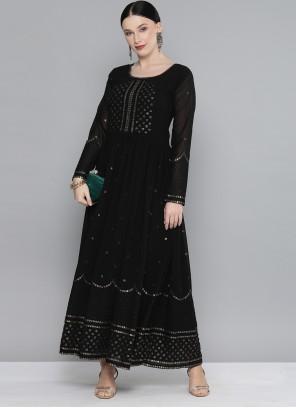 Black Georgette Sequins Party Wear Kurti
