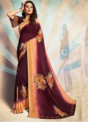 Georgette Stone Purple Traditional Saree