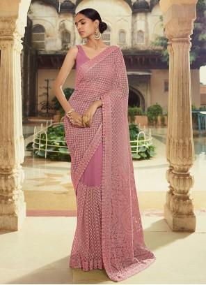 Georgette Thread Purple Trendy Saree