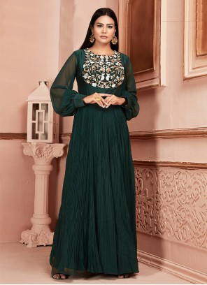 Georgette Thread Green Readymade Suit