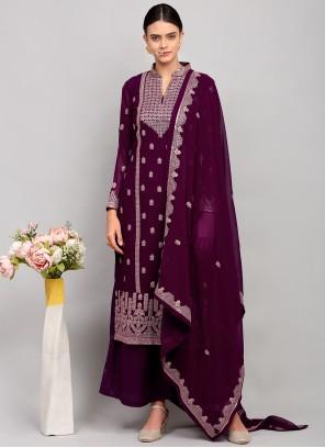 Georgette Thread Work Purple Designer Palazzo Salwar Kameez