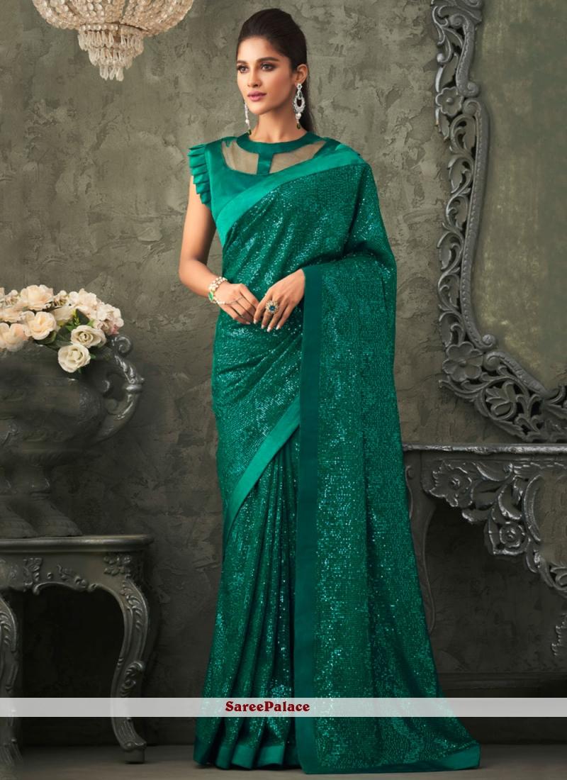 Green Georgette Sequins Trendy Saree