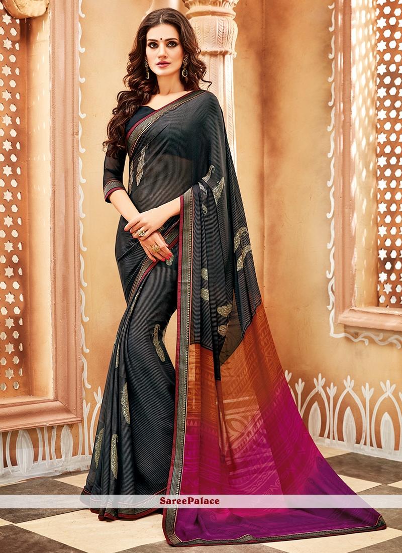 Black Georgette Trendy Saree