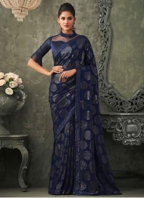 Georgette Trendy Saree in Blue