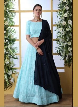 Georgette Turquoise Designer Lehenga Choli
