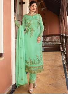 Georgette Turquoise Embroidered Pant Style Suit