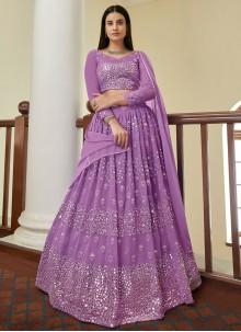 Georgette Violet Mirror Bollywood Lehenga Choli