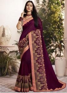 Rani Pink Georgette Wedding Classic Saree