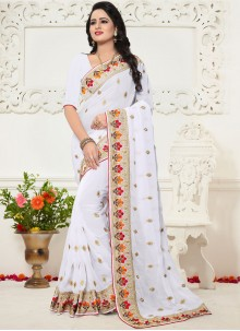 Georgette White Embroidered Work Saree