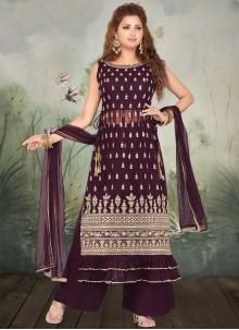 Georgette Wine Embroidered Designer Salwar Suit