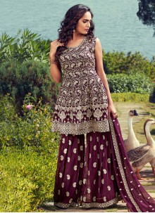 Georgette Wine Readymade Suit