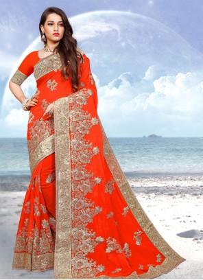 Georgette Zari Classic Designer Saree in Orange