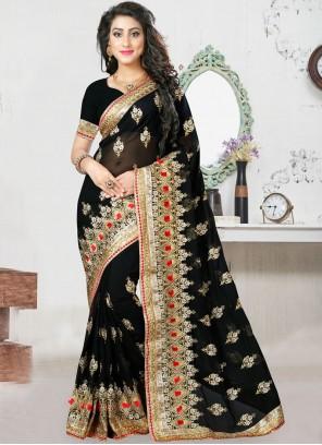 Georgette Zari Designer Saree in Black