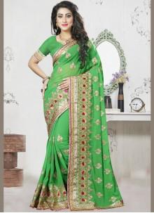 Georgette Zari Green Designer Saree