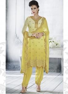 Georgette Zari Yellow Designer Salwar Suit